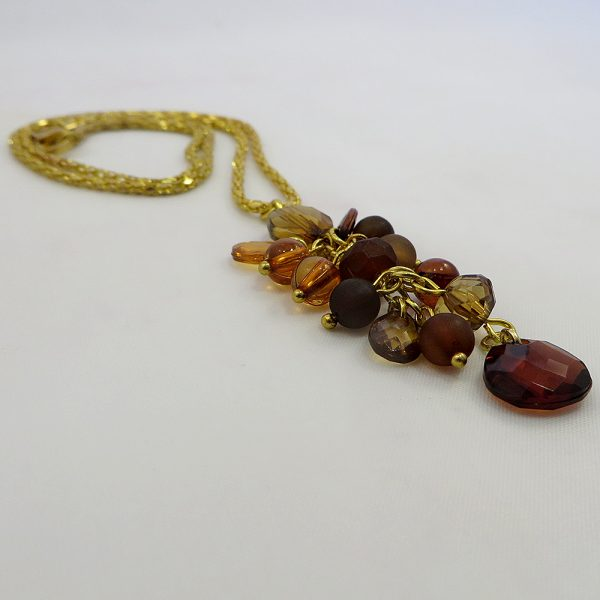 Cluster Drop (Shades of Amber) - Necklace - Weezie World