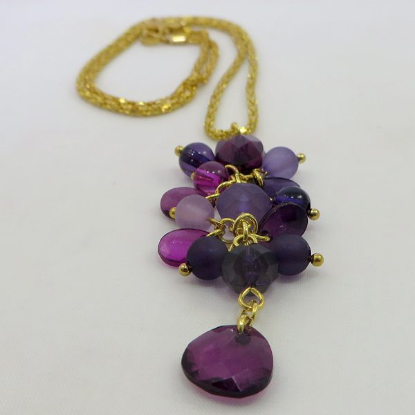 Cluster Drop (Shades of Purple) - Necklace - Weezie World