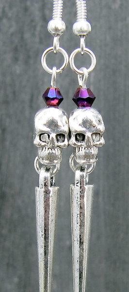 Heavy Metal Skullies (Raspberry) - Earrings - Weezie World