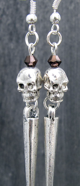Heavy Metal Skullies (Dark Crimson) - Earrings - Weezie World