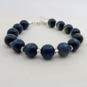 "Wood & Glass (Blue 7"") - Bracelet - Weezie World"