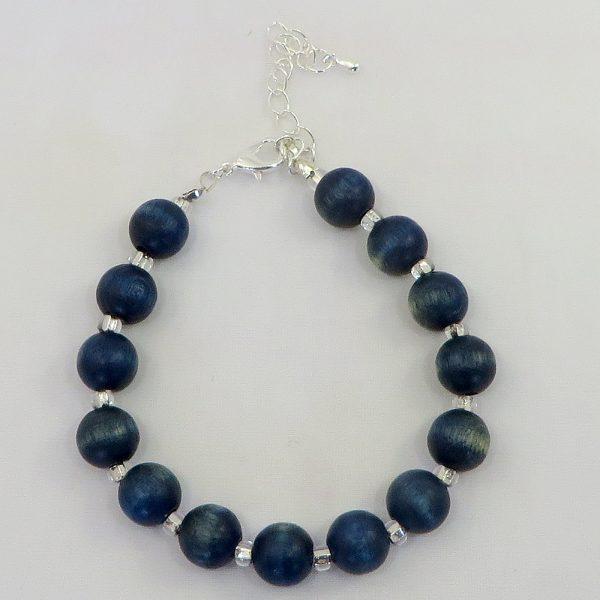"""Wood & Glass (Blue 7"""") - Bracelet - Weezie World"""