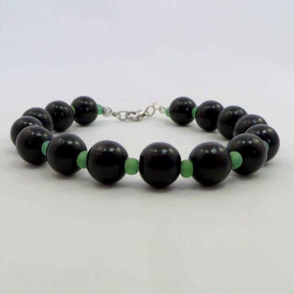 """Wood & Glass (Black 8"""") - Bracelet - Weezie World"""